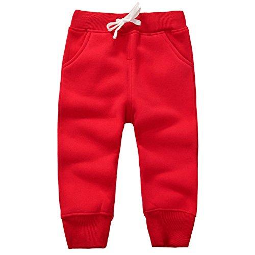 CuteOn Unisexo niños Elástico Cintura Algodón Calentar Pantalones Bebé Trousers Bottoms Rojo 2Años
