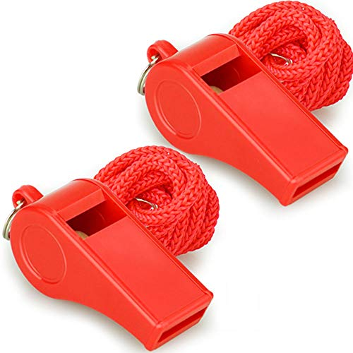 Hipat Red Emergency Whistles with Lanyard, Loud Crisp Sound, 2 Packs Plastic Whistles Ideal for Lifeguard, Self-Defense and Emergency