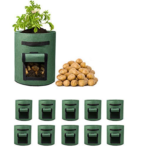 Delxo 10 Pack 7 Gallon Potato Grow Bags Two SidesVelcro...