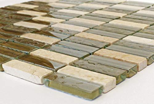 Mosaik Stonemix beige/Glas - Naturstein Mischung Restposten Stone Mix