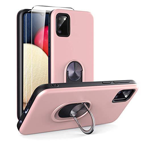 Ikziwreo - Funda para Samsung Galaxy A02s y 2 Protectores de Pantalla de Vidrio Templado, TPU + PC Funda para teléfono con Soporte de Anillo a Prueba de Golpes-Oro Rosa