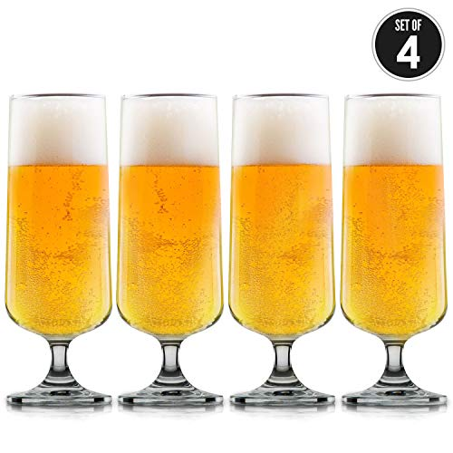 Craft Beer Glasses-Pilsner Glasses-Nucleated for Better Head Retention, Aroma and Flavor (4 Pack)-Handsomely Designed, Crystal 12 oz Craft Beer Glass for Beer Drinking Enhancement- Beer Enjoyment