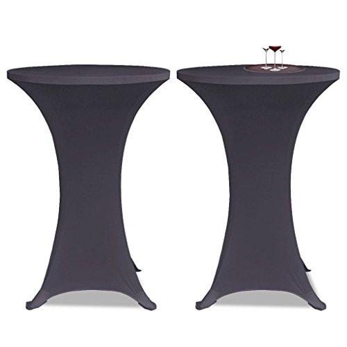 Housse de Table Extensible 60 cm 2 pcs Anthracite avec Polyester: 90%, Élasthanne: 10% pour maison