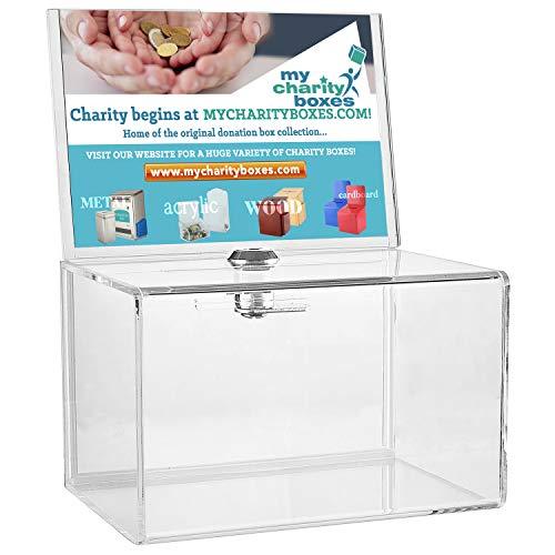 My Charity Boxen Inc. MCB, transparent Acryl Spende Collection Box mit Schloss–Kleine–mit 4–6Display
