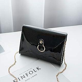 Lady Luxury Sequin Party Banquet One Shoulder Chain Crossbody Envelope Bag (Black) Girls Handbag
