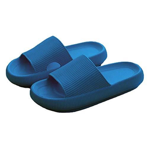 Pillow Slides Slippers Super Soft Home Slippers for Women Men Massage Foam Bathroom Slippers Non-Slip Eva Pillow Slide Sandals Open Toe Thick Sole Slippers Blue women 9.5-10.5/men 8.5-9.5
