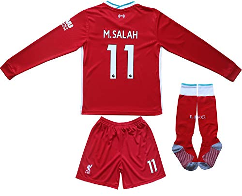 Necm 2020/2021 Liverpool Home #11 Mo Salah Soccer Kids Long Sleeve Jersey Shorts Socks Set Youth Sizes (Home, 22)