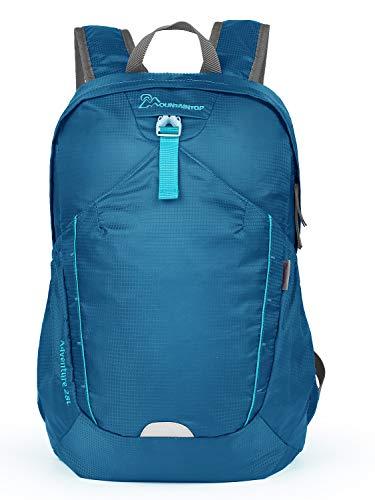 MOUNTAINTOP 28L Faltbare Rucksäcke Wanderrucksack, Leichte Packable Reiserucksack, Wasserdicht Wandern Tagesrucksack für Damen Herren, Eisenerz Blau