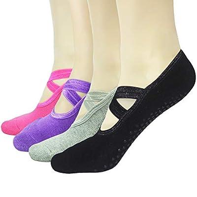 Gripper Pilates Barre Slipper Socks For Women - Elutong 1-4 Pairs Sticky Non Slip Grips Socks Yoga Ballet Sox