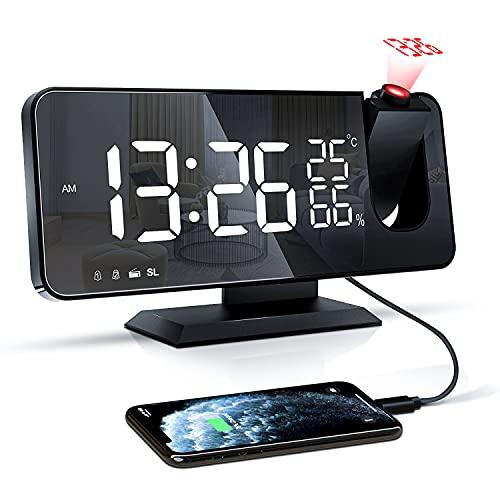 Projektionswecker, Digital Wecker mit Projektion, Radiowecker mit USB-Ladeanschluss, Snooze-Doppelwecker, LED-Spiegelbildschirm, Einstellbare Helligkeit, Temperatur- und Luftfeuchtigkeitsanzeige