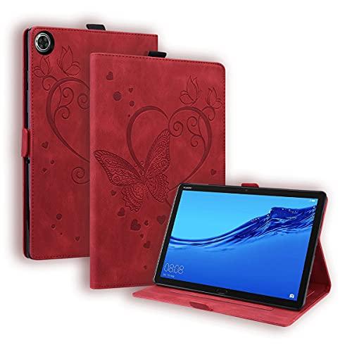 LMFULM® Hülle für Huawei MediaPad T5 / M5 (10,1 Zoll) PU Lederhülle Smart Case mit Ständer Schutzhülle Flip Cover Präge Liebe Schmetterling Rot