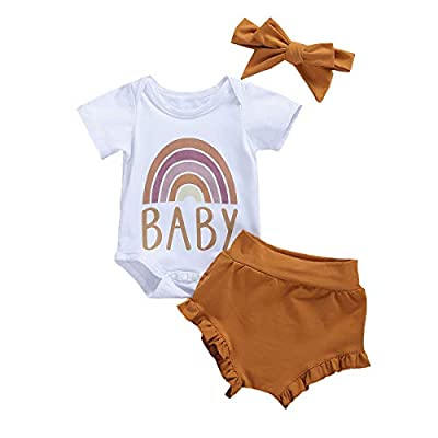 3Pcs Newborn Baby Girl Summer Shorts Outfit Sleeveless Bodysuit Romper+Ruffles Short Pants+Headband Clothes (Coffee Rainbow, 3-6 Months)