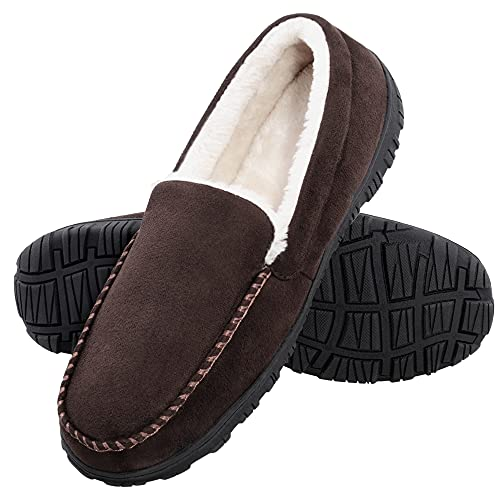 MIXIN Slippers for Men Indoor Outdoor Warm Moccasin Anti-Slip House Shoes with Memory Foam Brown 13M