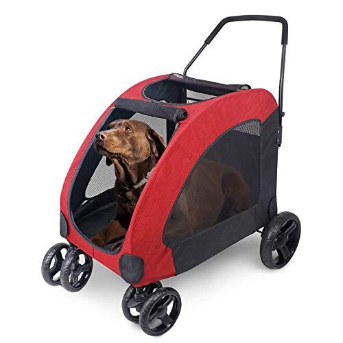 Wooce Haustier vierrädrige Stroller Hund Trolley Cat Carts Faltbare für Mittlere große Hunde Outgoing, Last innerhalb von 60 kg - rot