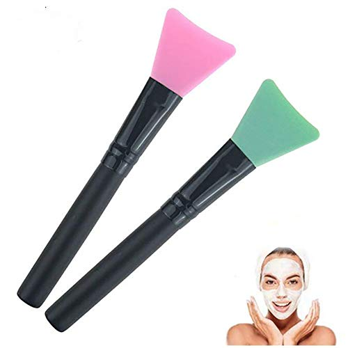 Beito Masque Brosse 2PCS Silicone Face Mask Brushes Flexible Facial Mud Mask Applicator Brush DIY Beauty Tool Soft Face Mask Applicator (Random Color)