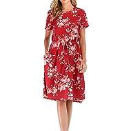 Summer Leopard V Neck Dresses for Women Babydoll Casual Dress with Pockets