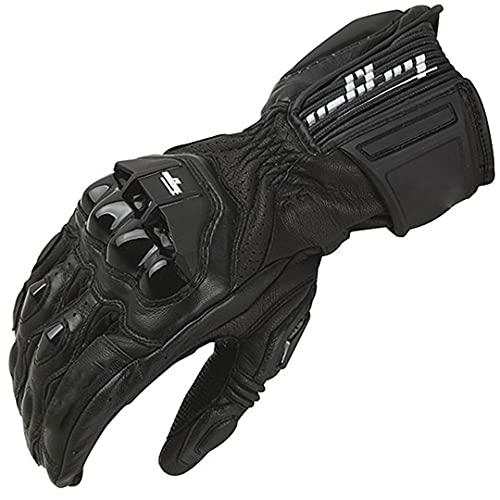 Guantes de motocicleta de cuero para hombre, guantes de equitación de motocicleta, transpirable, guantes de protección AFS 18 negro L