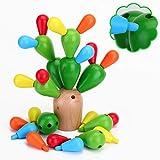 EKKONG Holz Spielzeug Kinder(28Pcs) Baby Montessori Holz ,zum Basteln aus Holz, Kaktus, Jigsaw Kinder, Intelligenz, Lernspielzeug zum Lernen (Feigenkaktus)