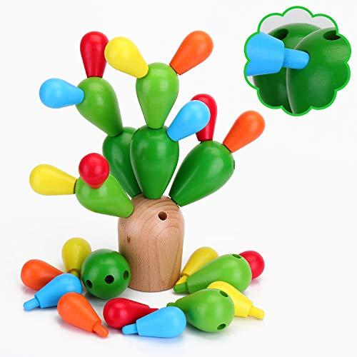 EKKONG Holz Spielzeug Kinder(28Pcs) Baby Montessori Holz ,zum Basteln aus Holz, Kaktus, Jigsaw Kinder,...