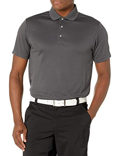 PGA TOUR Men's Short Sleeve Airflux Solid Performance Polo, Asphalt, XL