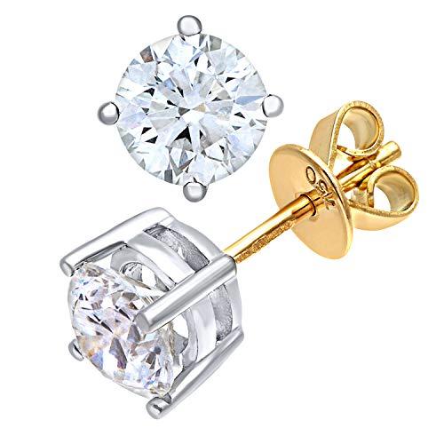 Naava Damen-Ohrringe 18 Karat 750 Gelbgold Rundschliff weiß Diamant PE04557YG140HVS2