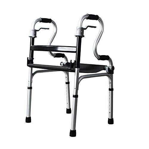 OCYE wandelhulp van aluminium, inklapbare rollator met comfortabele armleuningen en push-ups, in hoogte verstelbaar, geschikt voor senioren en hangers, zwart