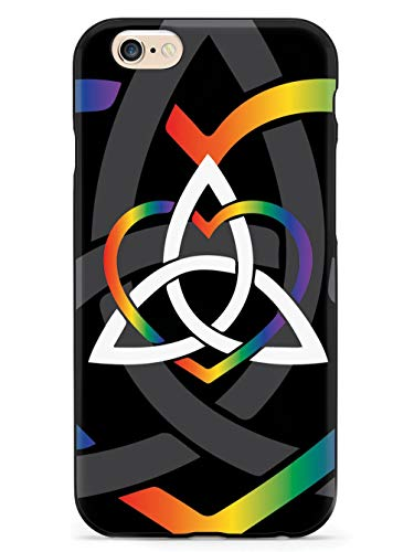 Inspired Cases - 3D Textured iPhone 6/6s Case - Rubber Bumper Cover - Protective Phone Case for Apple iPhone 6/6s - Celtic Sisters Knot - Rainbow - Black