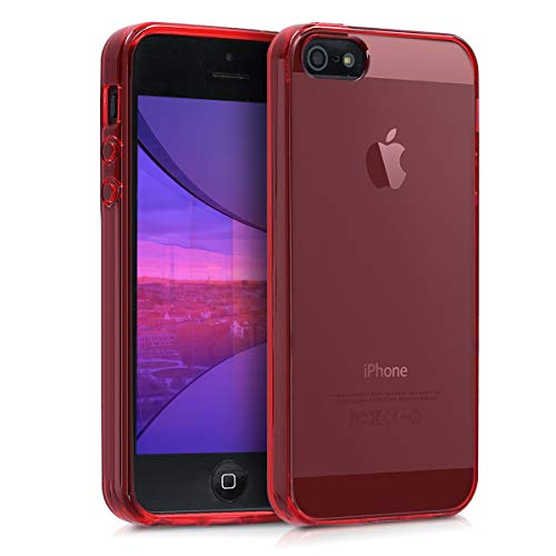 kwmobile Cover Compatibile con Apple iPhone SE (1.Gen 2016) / 5 / 5S - Custodia in Silicone TPU - Back Case Protezione Posteriore - Rosso