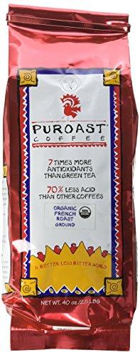Puroast Low Acid Ground Coffee, Organic French Roast, High Antioxidant, 2.5 Pound Bag