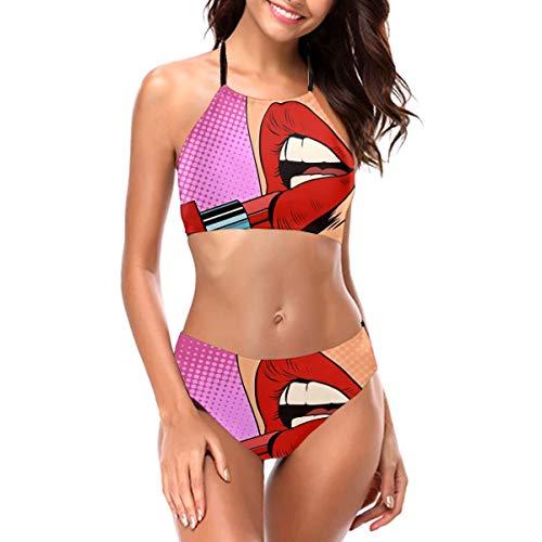 Retro Comic Pop Art Girl Auftragen roter Lippenstift Make-up Concept Halftone Sexy Bademode für Frauen Mädchen Zweiteiliger Badeanzug Neckholder Bikini Set Badeanzug Gr. L, Schwarz