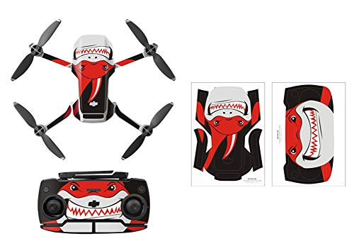 Rantow Shell Decoration Sticker Controller Decals Set for DJI Mavic Mini Drone Waterproof DIY Skin Decoration Drone Body Sticker (3- Red Shark)