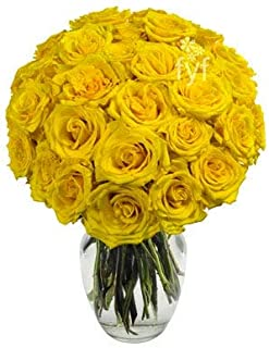 Flowers - Two Dozen Yellow Roses (Free Vase Included)