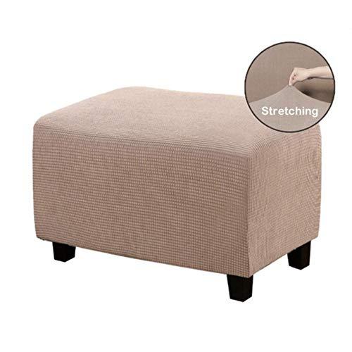 KKDIY Cubierta de Pedal Taburete de Almacenamiento Plegable elástico Engrosado Etiqueta de protección de Muebles Cubierta de sofá Rectangular Suave, Blanco, L