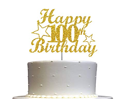 100 Birthday Cake Topper Gold Glitter, 100th Party Decoration Ideas, Premium Quality, Sturdy Doubled Sided Glitter, Acrylic Stick, Made in USA
