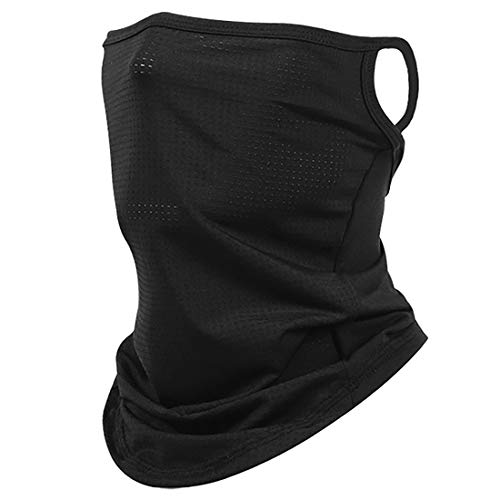 Etistta Bandana Face Cover with Ear Loops Neck Gaiters for Men Women Face Scarf Balaclava Black
