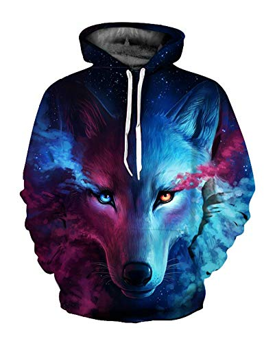 Unisex 3D Hoodie Pullover Sweatshirt Graphic Wolf Print Realistic Long Sleeve (XX-Large-XXX-Large, TS)