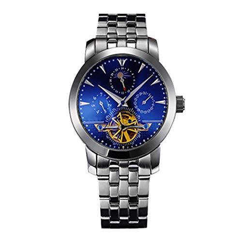 Angelay-Tian Reloj mecánico for Hombre Acero Inoxidable Moda Reloj Hueco for Hombre Impermeable Multifuncional Reloj mecánico Informal Correa de Acero Inoxidable