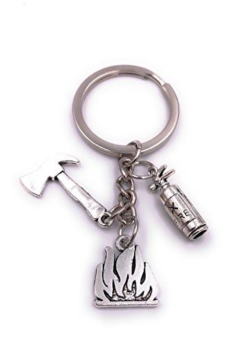 H-Customs Feuerlöscher Axt Feuer Feuerwehr Schlüsselanhänger Anhänger Silber aus Metall