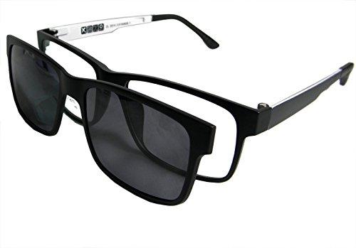 Circleperson Men Eyeglass frame polarized clip on sunshade magnetic glasses 54-17 (Black/white+print lens, Polarized gray clip on)
