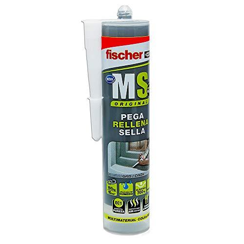 fischer - sellador de juntas MS Sellante/ADH gris (cartucho 290 ml) polímero mono-componente para pegar y sellar diferentes materiales, excelente resistencia de decoloración, sin silicona