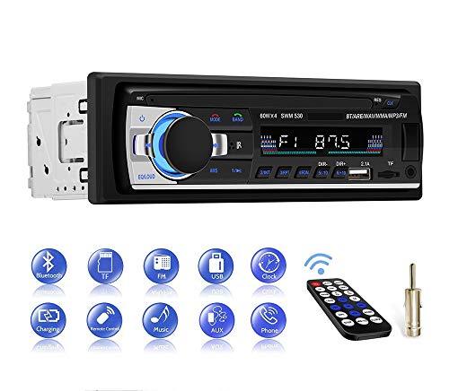 Autoradio Bluetooth Main Libre, CENXINY Radio Voiture avec télécommande, Lecteur MP3, Prise en Charge de Carte TF USB Double auxiliaire, Radio FM stéréo pour Connexion Voiture et DIN, Deux Ports USB