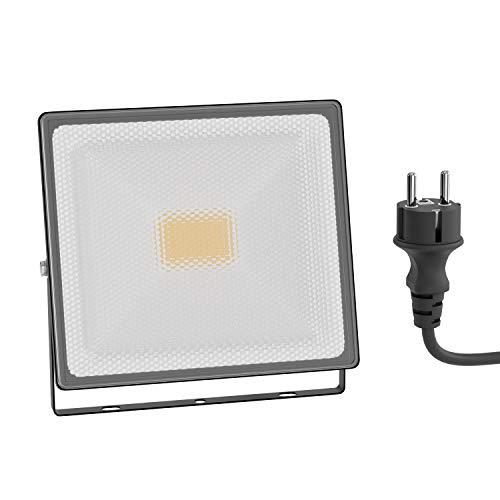 ledscom.de Foco LED para exteriores FLIN, foco, IP66 resistente al agua, con enchufe negro 30W 2400lm blanco-cálido