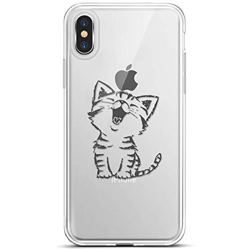 Herbests Kompatibel mit Handy Hülle iPhone XS Max Handyhülle Klare Durchsichtig Silikonhülle Ultradünne TPU Silikon Handytasche Transparent TPU Bumper Kristall Weich Schutzhülle Clear Case,Katze