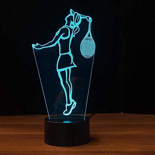 Luz de noche de tenis3D,7colores cambiantes,lámpara demesaLED,tableta acrílica,BaseAbs,cargadorUSB,decoración del hogar, juguete, cumpleaños, niños, regalo para niños