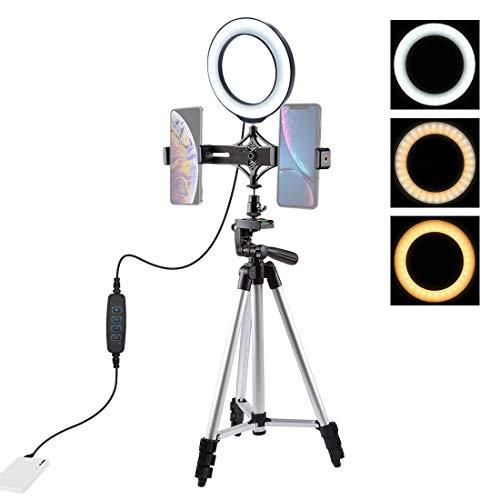 RYSD-MT Ring Light -Tripod Mount + Live Broadcast Dual Phone Bracket + 6.2 Inch LED Ring Vlogging Video Light Kits