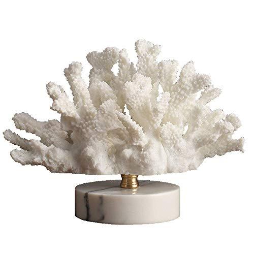 För Office Garden Familjerum Abstrakta Ornaments Figurines konstgåva Hem Skrivbord Badrum Dekoration Skulptur, Modern Vit Korall Inredning Marmor Base Living Room Resin Hantverk Heminredning Bröllopsg