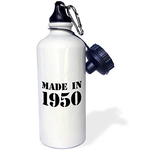 qidushop Gemaakt In 1950 Grappige Verjaardag Geboorte Jaar Tekst Plezier Zwarte Bday Stempel Jaar Je werd geboren Humor Wit Nieuwigheid Sport Waterfles Gift Vriend Mannen Vrouwen Tante 21oz