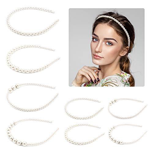 8 Stück Haarreifen Perlen Künstliche Perle Stirnband Hochzeit Elegant Perlen Haarschmuck Zubehör Lange Glänzende Haarranke weiß Haarschmuck für Mädchen Braut Frau(4 Stile)