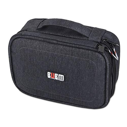 """BUBM Electronic Organizer, Double Layer Travel Gadget Storage Bag for Cables, Cord, USB Flash Drive, Power Bank and More-a Sleeve Pouch for 7.9"""" iPad Mini(Medium,Black)"""