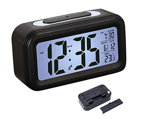 WEIXINHAI Reloj Despertador Digital con batería 12 / 24H-Calendario Temperatura Ambiente luz Nocturna Inteligente función de repetición, Temporizador de Apagado es Adecuado para durmientes.